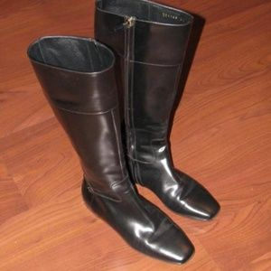 Gucci Black Leather GG Italian Boots Size 35